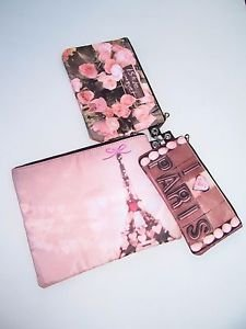 Bath & Body Works Paris theme 3 cosmetic make-up bags flowers Eiffel tower NWT