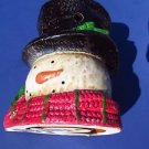 Yankee Candle ceramic tart wax warmer burner top hat snowman head new in box