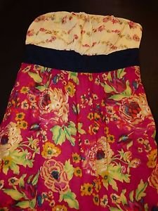 Maeve strapless sundress Blissful Days pink yellow floral navy sash size 6 EUC
