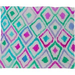 DENY Designs Amy Sia Watercolor Ikat 2 Fleece Throw Blanket, 80-Inch by 60-Inch