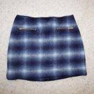 Kate Spade Transcontinental Express zip pocket mini skirt 12 blue gray plaid NWT