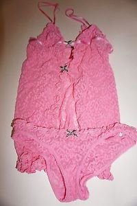 Victoria's Secret Lacie flyaway babydoll with panty pink size S new