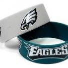 Philadelphia Eagles Rubber Bracelets 2 Pack Silicone Wristbands Licensed New