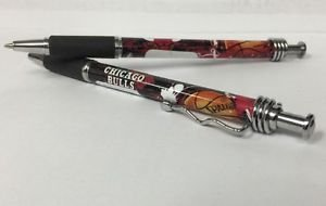 Chicago Bulls Retractable Ballpoint Pens Soft Rubber Grip Set Of 2 New