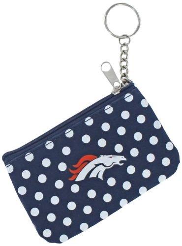 NFL Denver Broncos Coin ID Purse Polka Dot Keychain Keyring Zippered New