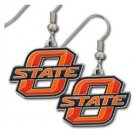 NCAA OSU Cowboys Dangle Earrings Hand Colored Enameled Logo Nickel Free