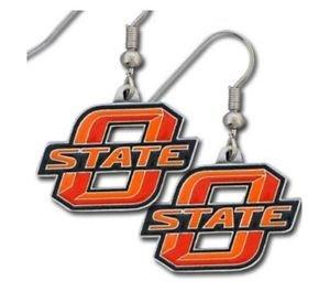 NCAA OSU Cowboys Dangle Earrings Hand Colored Enameled Logo Nickel Free