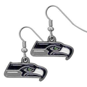 Seattle Seahawks Dangle Earrings Hand Colored Enameled Logo Nickel Free