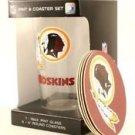 Washington Redskins 16-Ounce Pint Glass & 4 Coasters Gift Set Dishwasher Safe