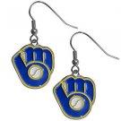 MLB Milwaukee Brewers Dangle Earrings Hand Colored Enameled Logo Nickel Free