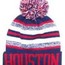 Houston City Beanie Color PomPom Hat Winter Knit w POM Ribbed Cuff