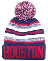 Houston City Beanie Color PomPom Hat Winter Knit w POM Ribbed Cuff