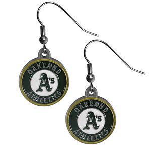 MLB Oakland Athletics Dangle Earrings Hand Colored Enameled Logo Nickel Free
