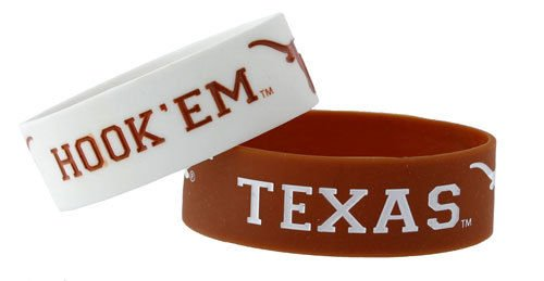 Texas Longhorns Rubber Bracelets 2 Pack Silicone Wristbands OSFM Licensed New