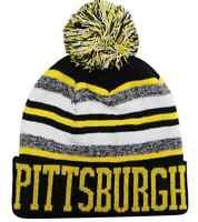 Pittsburgh City Beanie Color PomPom Hat Winter Knit w POM Ribbed Cuff