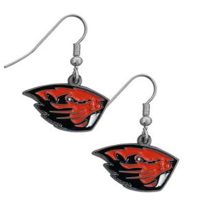 Oregon Beavers Tar Heels Dangle Earrings Hand Colored Enameled Logo Nickel Free