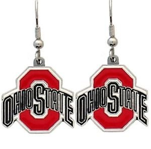 Ohio State Buckeyes Dangle Earrings Hand Colored Enameled Logo Nickel Free