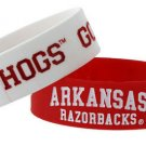 Arkansas Razorback Rubber Bracelets 2 Pack Silicone Wristbands OSFM Licensed New
