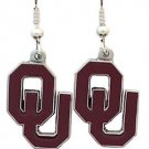 Oklahoma Sooners Dangle Earrings Hand Colored Enameled Logo Nickel Free