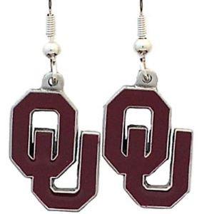 Oklahoma Sooners Dangle Earrings Hand Colored Enameled Logo Nickel Free