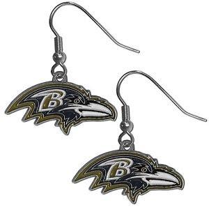 Baltimore Ravens Dangle Earrings Hand Colored Enameled Logo Nickel Free