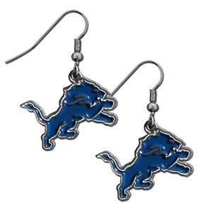 Detroit Lions Dangle Earrings Hand Colored Enameled Logo Nickel Free