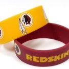 Washington Redskins Rubber Bracelets 2 Pack Silicone Wristbands Licensed New