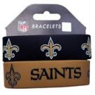 New Orleans Saints Rubber Bracelets 2 Pack Silicone Wristbands OSFM Licensed New