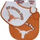 NCAA Texas Longhorns Baby Bib Shower Gift 2-Pack Infant Toddler Licensed New