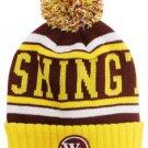 Washington City Patch Beanie Color PomPom Hat Winter Knit w POM Ribbed Cuff