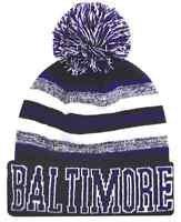 Baltimore City Beanie Color PomPom Hat Winter Knit w POM Ribbed Cuff