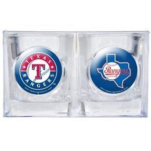MLB Texas Rangers Shot Glasses Set Retro and New Logo 2pc Licensed New