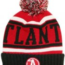 Atlanta City Patch Beanie Color PomPom Hat Winter Knit w POM Ribbed Cuff