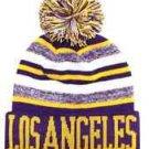 Los Angeles City Beanie Color PomPom Hat Winter Knit w POM Ribbed Cuff