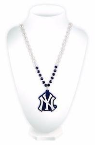 MLB New York Yankees Sport Bead w/ Medallion Mardi Gras Necklace Licensed New