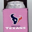 Houston Texans Pink Football Can Bottle Koozie Coozie Drink Holder Authentic New