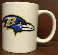 NFL Baltimore Ravens White Ceramic Coffee Mugs Cups 12OZ w Handle Authentic New
