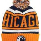 Chicago City Patch Beanie Color PomPom Hat Winter Knit w POM Ribbed Cuff