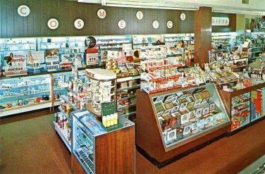 Drug Store interior postcard Babis Pharmacy Merion PA postcard Chrome Mint never mailed