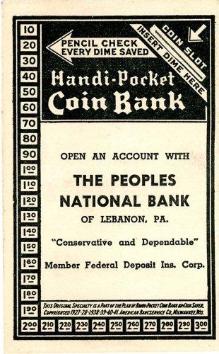 Handi Pocket coin bank Peoples Bank of Lebanon PA vintage Mortician
