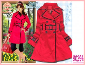 New Japan Stylish Double Breast Black Hem Belt Coat Red L