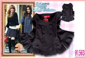 New Japan Elegant Double Breasted Coat Black L