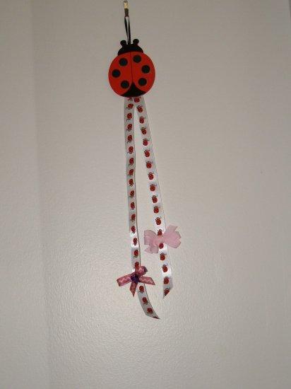 Lady Bug Hanging Bow Holder