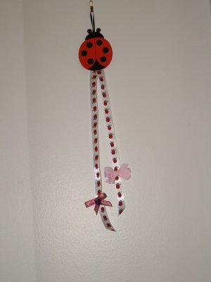 Lady Bug Hanging Bow Holder