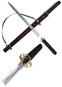 "37"" RED & BLACK DOUBLE EDGED NINJA SWORD"