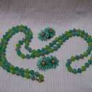 Cool Mint & Green Vintage Necklace/Earring Set