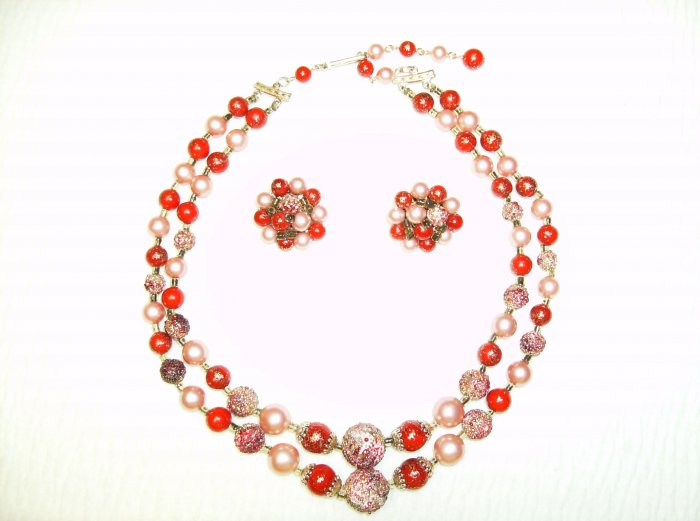 Pink & Red Candy Vintage Necklace/Earring Set