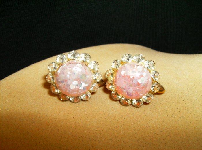 Pink Foil Fleck Crystal Earrings