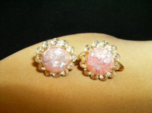 Pink Foil Fleck Crystal Earrings