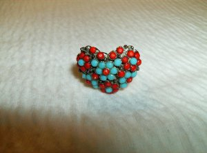Turquoise & Red Heart Ring - Adjustable
